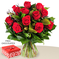 12 Red Roses In A Bunch, FREE Chocolates