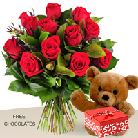 12 Red Rose Bunch With Teddy And FREE Chocolates