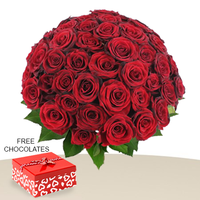 60 Red Roses In A Bunch FREE Chocolates