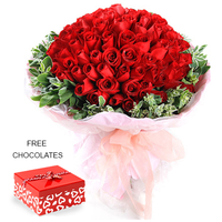 99 Red Roses In A Bunch FREE chocolates