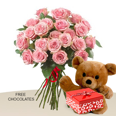 24 pink roses in a bunch with teddy and free chocolates bali image 1 mightylinksfo