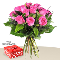 12 Pink Roses In A Bunch With Free Chocolates