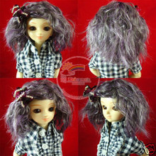 Purple Mix Grey Middle-Cut Wavy 7-8 Wig for MSD BJD Dollfie Ellowyne Wilde Dolls