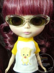 "Releaserain Doll Glasses Clear Transparent Frame Black Lens Sunglasses #A6 For 12"" Blythe Dolls"