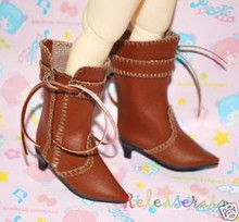 Dollfie Yo-SD Shoes Cowgirl Tassel Heel Boots Brown