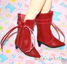 Dollfie Yo-SD Shoes Cowgirl Tassel Heel Boots Red