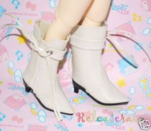 Dollfie Yo-SD Shoes Cowgirl Tassel Heel Boots Ivory