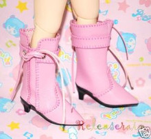 Dollfie Yo-SD Shoes Cowgirl Tassel Heel Boots Pink