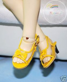Dollfie MSD Unoa Shoes Clear/Patent Bow Sandals Yellow