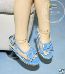 Dollfie MSD Unoa Shoes Clear/Patent Bow Sandals Blue