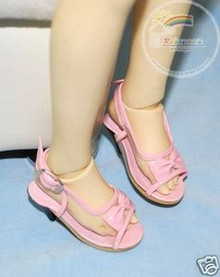 Dollfie SD Girl Shoes Clear/Patent Bow Sandals Pink