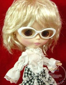 "Releaserain Doll Glasses White Frame Clear Lens Eyeglasses #A9 For 12"" Blythe Dolls"