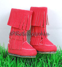Dollfie DOB Shoes Suede Fringe Moccasin Boots Red
