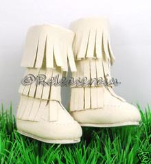 Dollfie DOB Shoes Suede Fringe Moccasin Boots Ivory