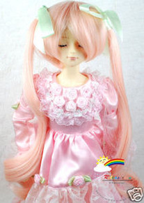 Pink Cream 7-8 Heat Resistance Wig #D4219 for MSD BJD Dollfie Ellowyne Wilde Dolls