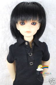 Black Layer 7-8 Heat Resistance Wig #D4218 for MSD BJD Dollfie Ellowyne Wilde Dolls