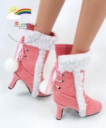 """16"""" Tonner Tyler/Gene Shoes Suede Fur Heel Boots Pink"""