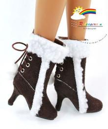 """16"""" Tonner Tyler/Gene Shoes Suede Fur Heel Boots Choc"""