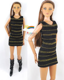 "16"" Tonner Tyler/Gene Outfit Gold Stripes Dress Black"
