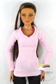"16"" Tonner Tyler/Gene Long Sleeves V-Neck Tee Shirt Pink"