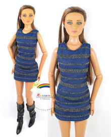 "16"" Tonner Tyler/Gene Outfit Gold Stripes Dress D.Blue"
