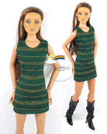 "16"" Tonner Tyler/Gene Outfit Gold Stripes Dress D.Green"