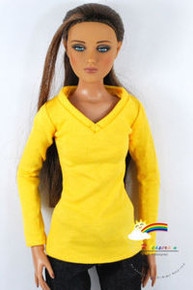"16"" Tonner Tyler/Gene Long Sleeves V-Neck Tee Shirt Yellow"