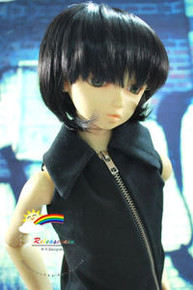 Dollfie SD Black Short 8-9 Heat Resistant Wig #D3046