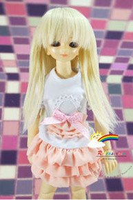 Blond Long 7-8 Heat Resistant Wig #D4002 for MSD BJD Dollfie Ellowyne Wilde Dolls