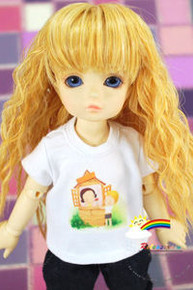 Dollfie Yo-SD Outfit White Short-Sleeve Tee Give a Rose