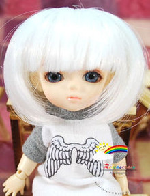 "Milk White 5.5"" Doll Wig for Lati Yellow Pukifee BJD Dollfie 16"" Tonner Tyler #8015-1001"