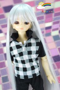 Silver White 7-8 Heat Resistant Wig #D4015N for MSD BJD Dollfie Ellowyne Wilde Dolls