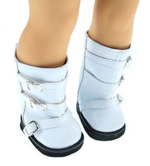 Buckles Boots Shoes Patent White for American Girl Doll