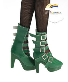 """16"""" Tonner Tyler/Ellowyne Shoes 5-Strap Boots P D Green"""