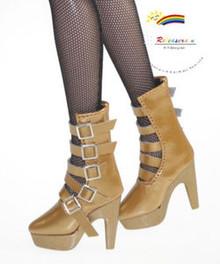 """16"""" Tonner Tyler/Ellowyne Shoes 5-Strap Boots Pt D Gold"""