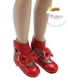 "Red Mary Jane Bow Boots Shoes for 12"" Tonner Marley"
