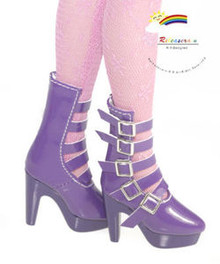 "16"" Tonner Tyler/Ellowyne Shoes 5-Strap Boots Pt Purple"