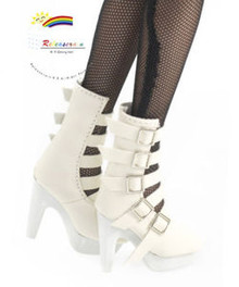 """16"""" Tonner Tyler/Ellowyne Shoes 5-Strap Boots Ivory"""