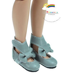 "Grey Mary Jane Bow Boots Shoes for 12"" Tonner Marley"