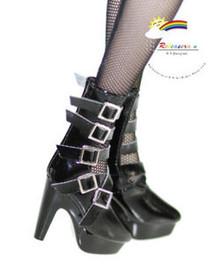 "16"" Tonner Tyler/Ellowyne Shoes 5-Strap Boots Pt Black"