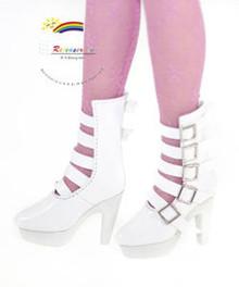 "16"" Tonner Tyler/Ellowyne Shoes 5-Strap Boots Pt White"
