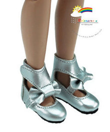 "Silver Mary Jane Bow Boots Shoes for 12"" Tonner Marley"