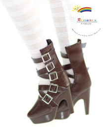 "16"" Tonner Tyler/Ellowyne Shoes 5-Strap Boots Chocolate"
