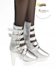 "16"" Tonner Tyler/Ellowyne Shoes 5-Strap Boots Pt Silver"