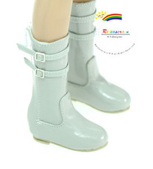 "Buckle Shoes Boots Patent Grey for Slim MSD BJD Unoa Minifee 17"" Tonner Matt 14"" Kish"
