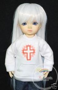 Dollfie Yo-SD White Hip Hop Long-Sleeve Tee Cross