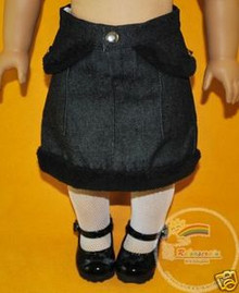 American Girl Doll Outfit Fur Trim Denim Skirt Black