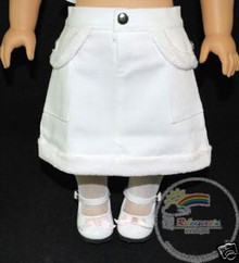 American Girl Doll Outfit Fur Trim Denim Skirt White