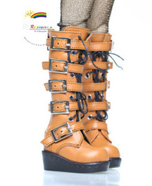 MSD Dollfie Shoes Emo Buckles Lace-Up Boots Mud Brown