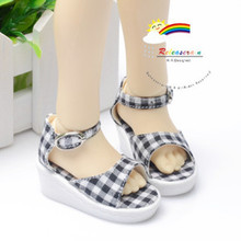 Black Checker Wedge Heel Shoes Sandals for MSD Dollfie
